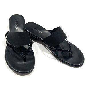 Aldo Slip-On Black Double Strap Sandal w/ Low Heel